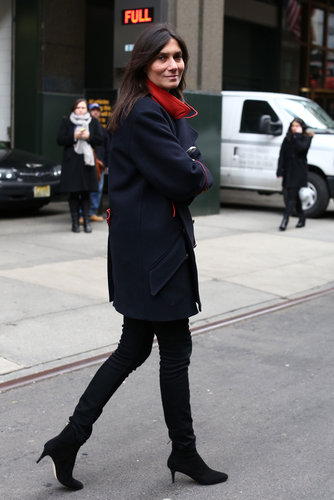 Emmanuelle Alt hit the streets in her signature mix of ease and sophistication — Parisian chic at its best.
