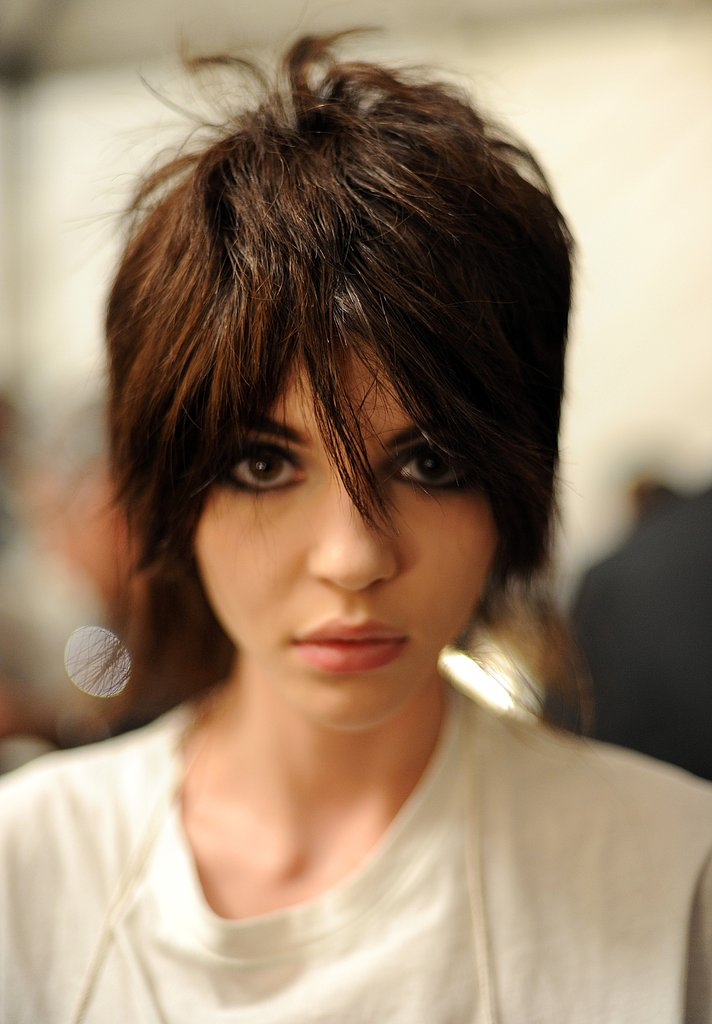 Guido was busy backstage making each model into a brunette. He took the time to custom cut each wig into a style inspired by '70s punk rock star Joan Jett. It translated into a piecey pixie with long, sideswept fringe and lengthy strands at the nape.