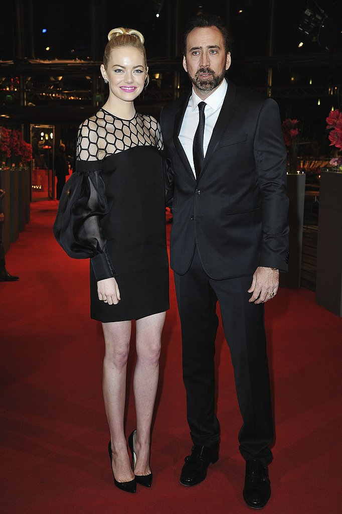Emma Stone wore a Gucci dress at the Berlin International Film Festival premiere of The Croods with Nicholas Cage.