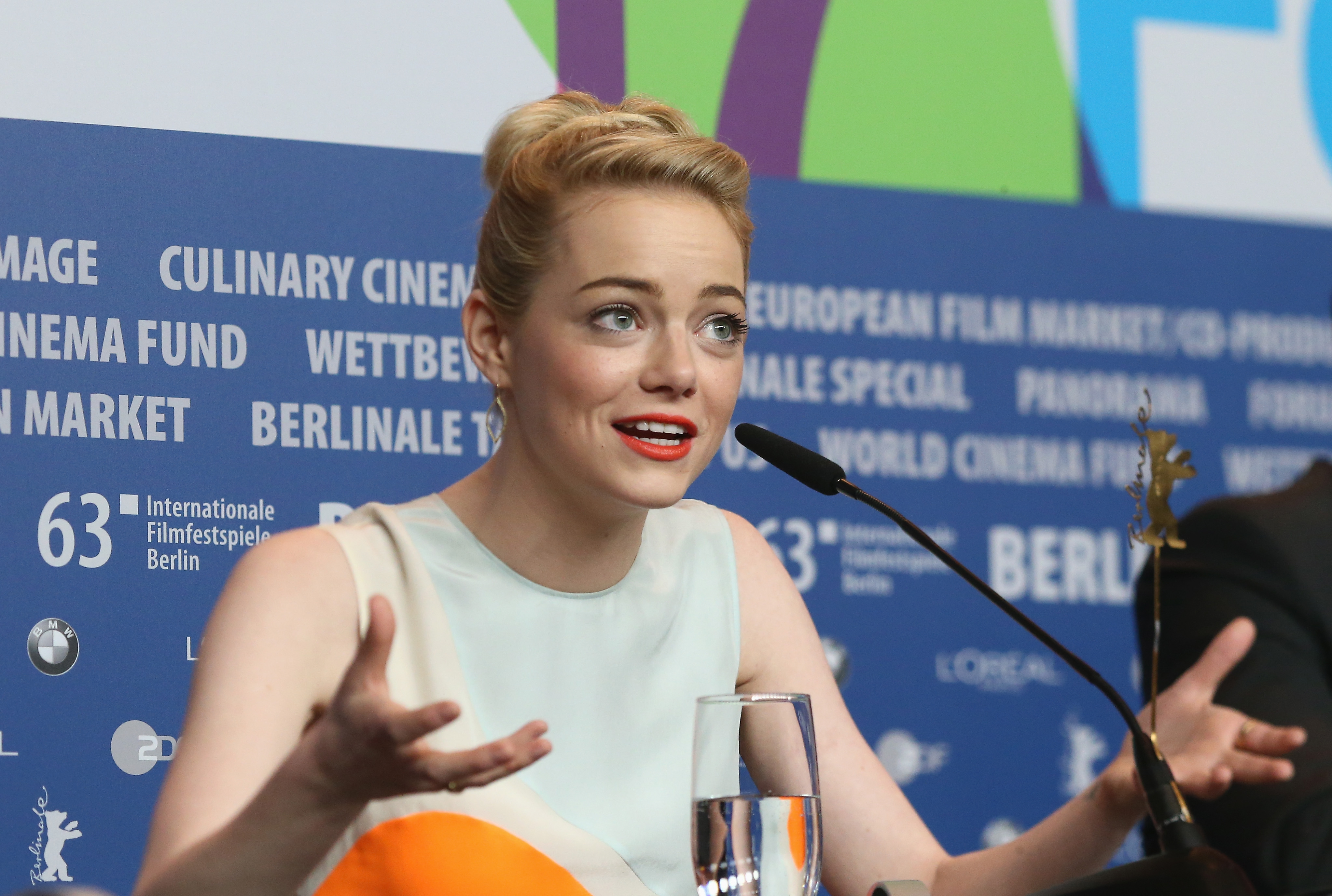 Emma Stone spoke with the press while promoting The Croods at its photocall in Berlin.