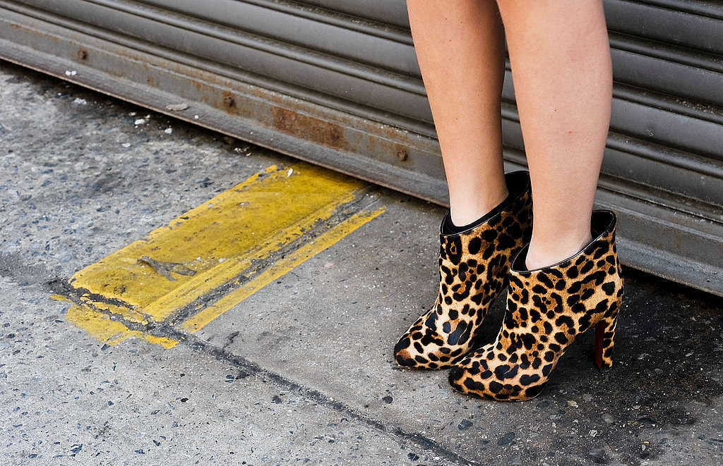 Hot leopard-print booties hit the streets outside the Ralph Lauren show.