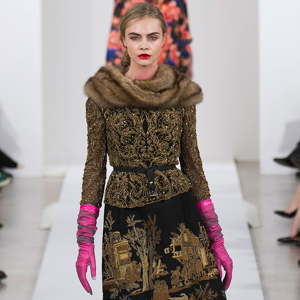 We were so excited to attend the Oscar de la Renta Fall 2013 runway — how gorgeous is the embellishment on Cara Delevingne's outfit?
