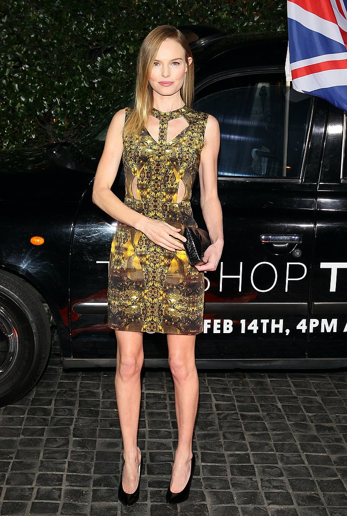 Kate Bosworth hit the Topshop LA opening in a body-con silhouette and a brilliant print.