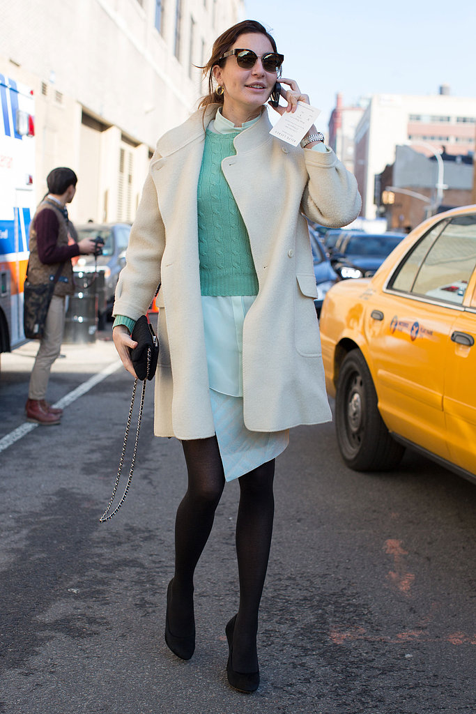 The cream and pastel hues were a sweet contrast to black tights.