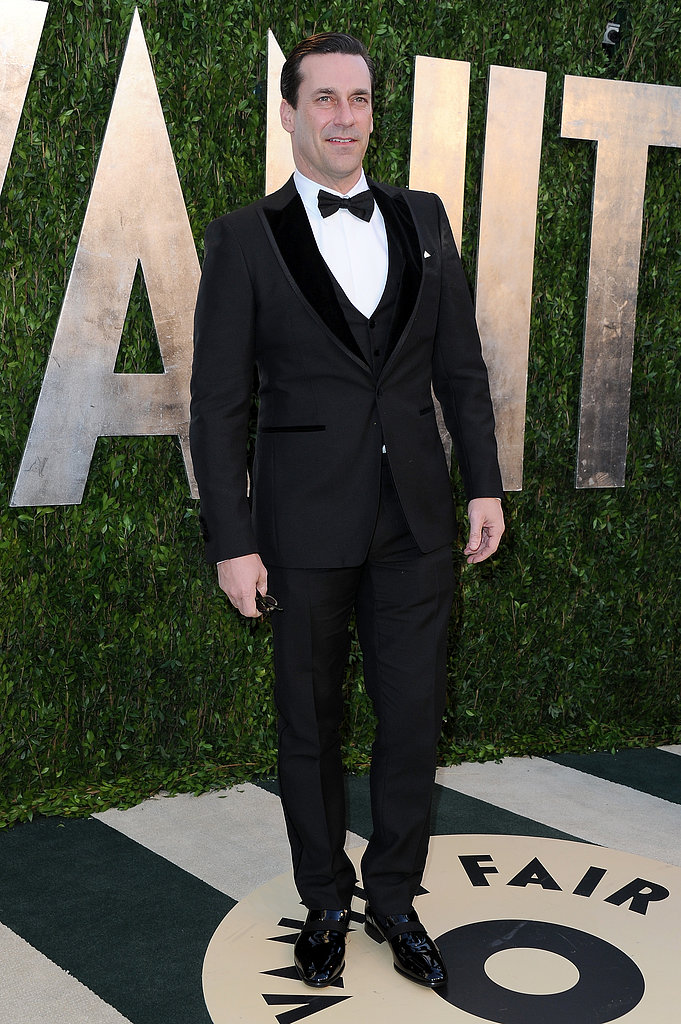 Jon Hamm arrived at the Vanity Fair Oscar party on Sunday night.