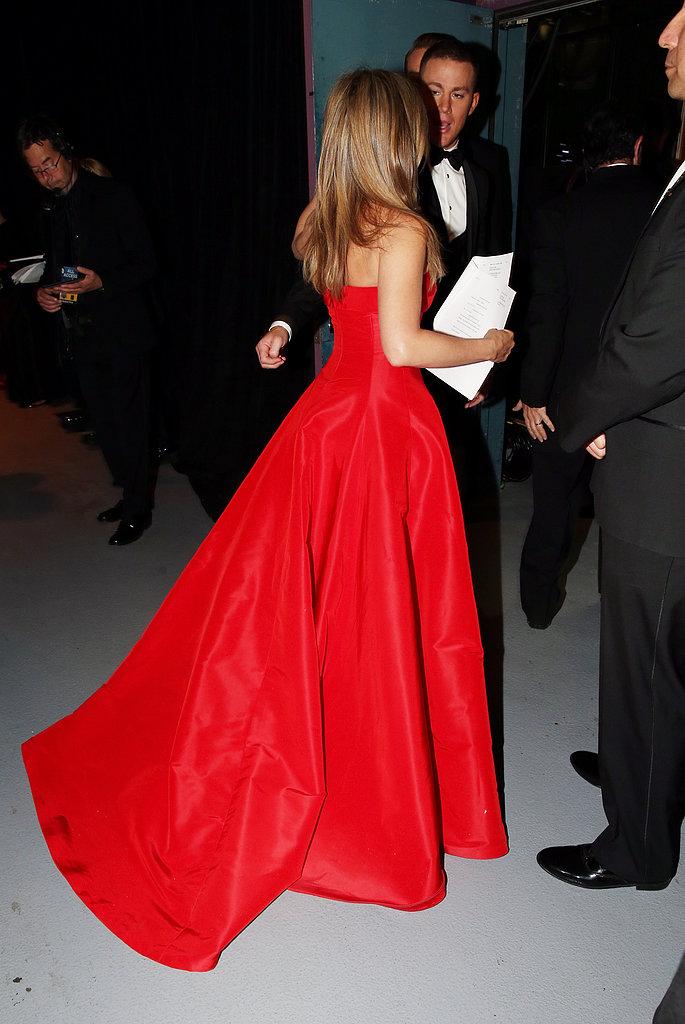 Jennifer Aniston backstage at the 2013 Oscars.