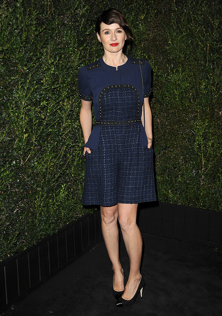 Emily Mortimer wore a cocktail dress.