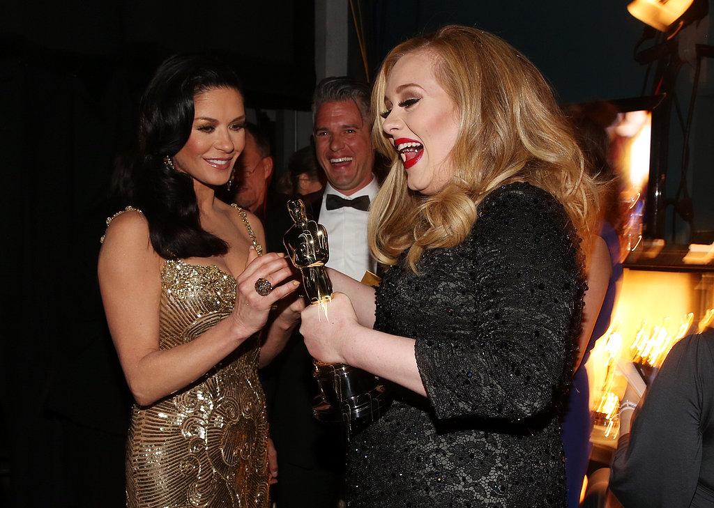 Catherine Zeta-Jones, Paul Epworth, and Adele gathered backstage at the 2013 Oscars.