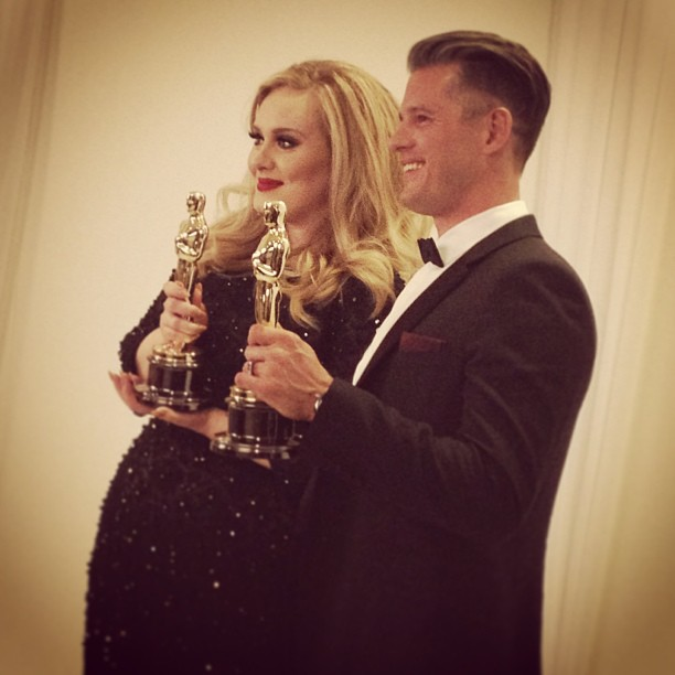 Adele held up her award backstage at the Oscars. Source: Instagram user theacademy