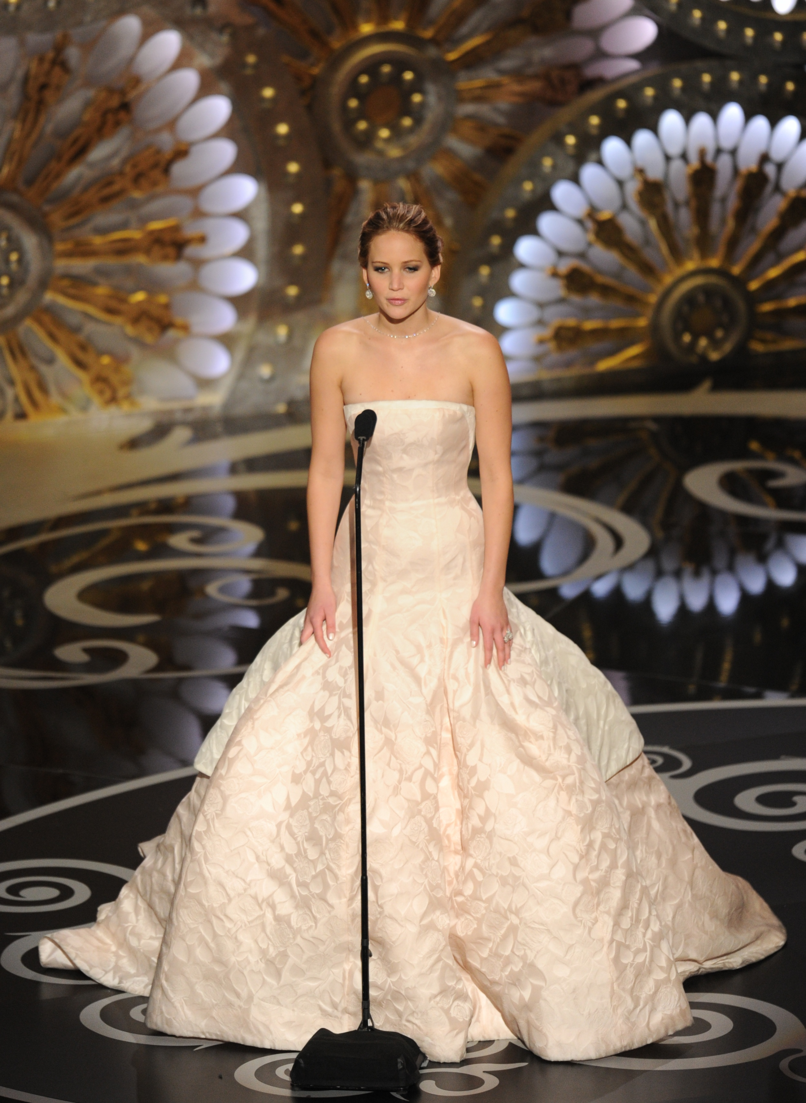 Jennifer Lawrence on stage at the Oscars 2013.