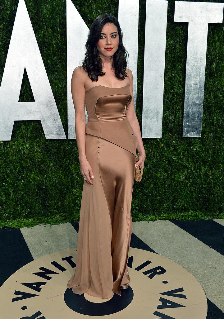 Aubrey Plaza arrived at the Vanity Fair Oscar party on Sunday night.