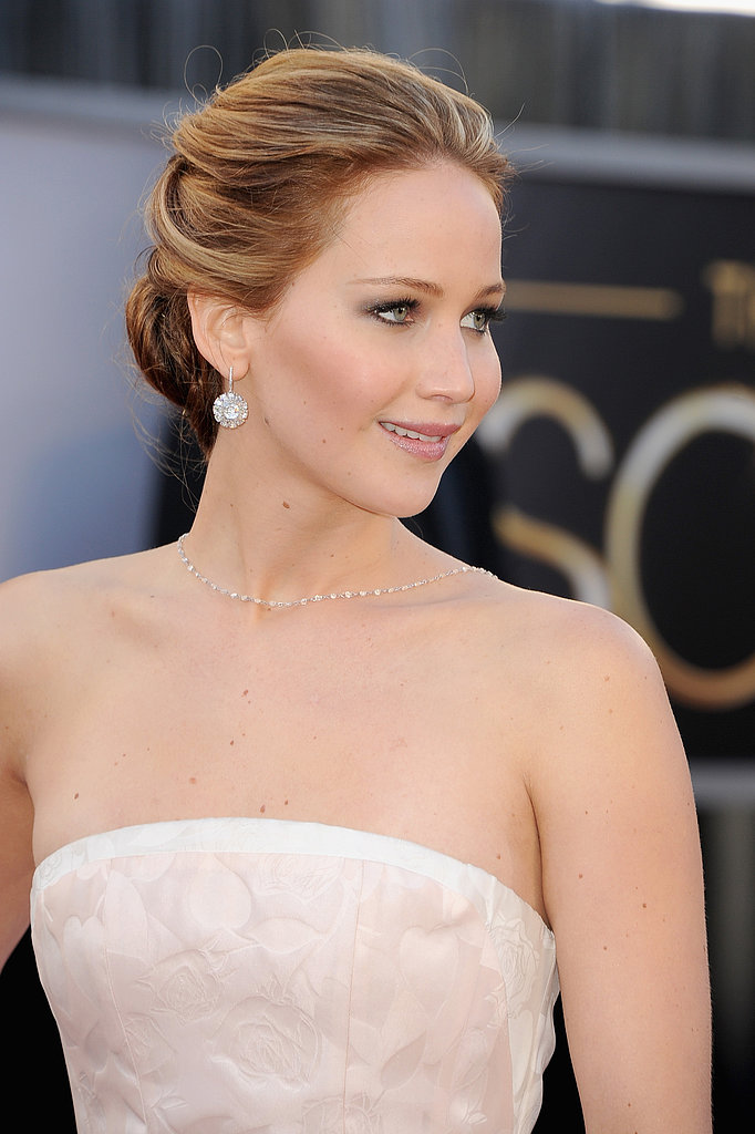 Jennifer Lawrence on the red carpet at the Oscars 2013.