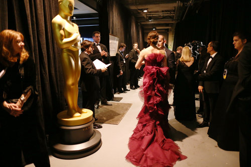 Jennifer Garner's Gucci dress was on display backstage.
