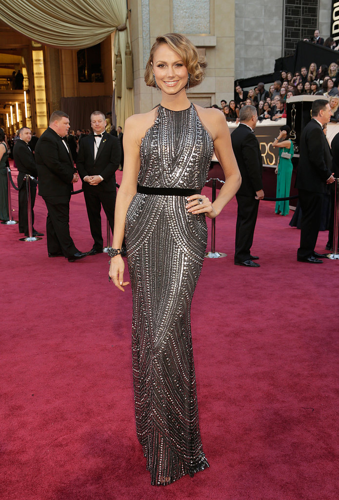 Stacy Keibler donned a silver-studded Naeem Khan racerback gown with Lorraine Schwartz jewels.