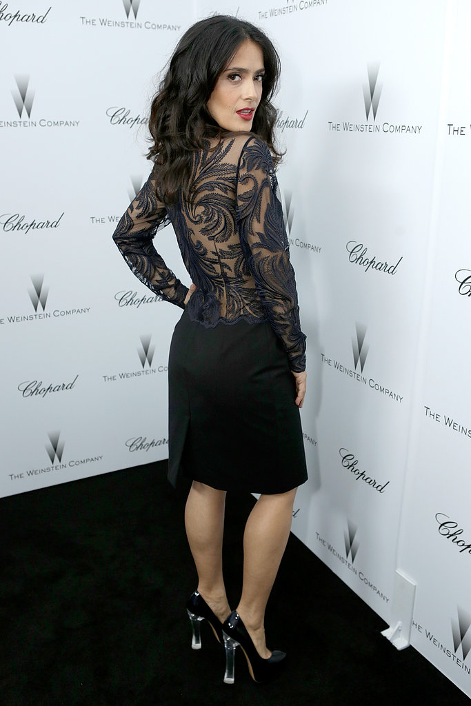 A view of the sexy detailing on the back of Salma's dress at the Weinstein pre-Oscars party.