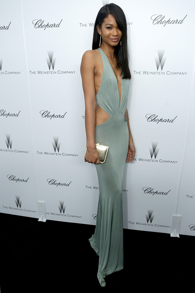 Chanel Iman was another partygoer who ditched the black for a daring minty green cutout dress and Jerome Rousseau accessories.