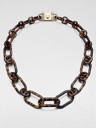 Michael Kors Tortoise-Pattern Chain Link Necklace