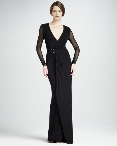 Halston Heritage Jersey Wrapped Gown