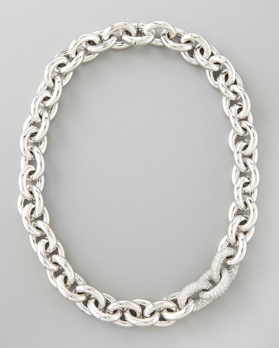 Eddie Borgo Pave-Link Cable Chain Necklace, Silver