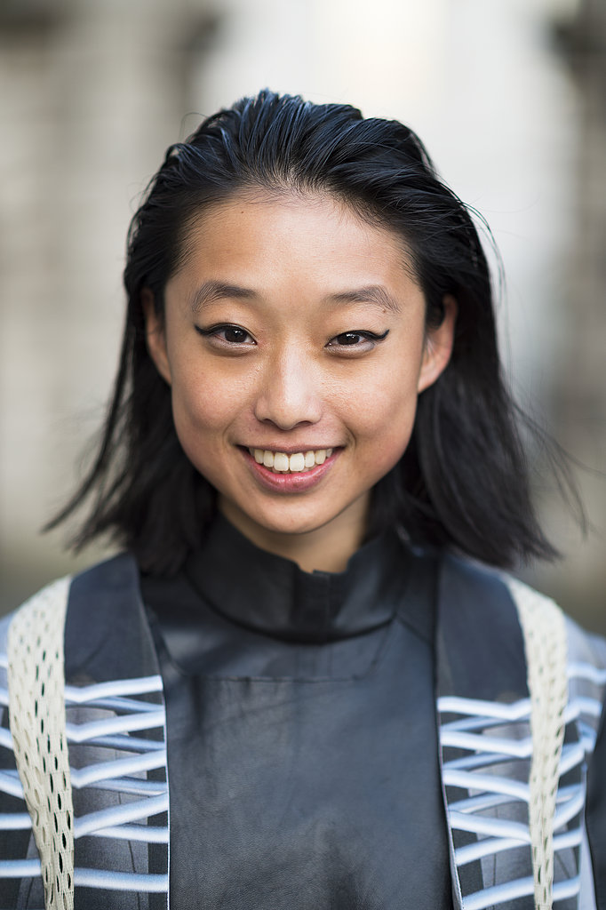 A slicked-back style and cat-eye liner looked cool, not corny, on Margaret Zhang. Source: Le 21ème   Adam Katz Sinding