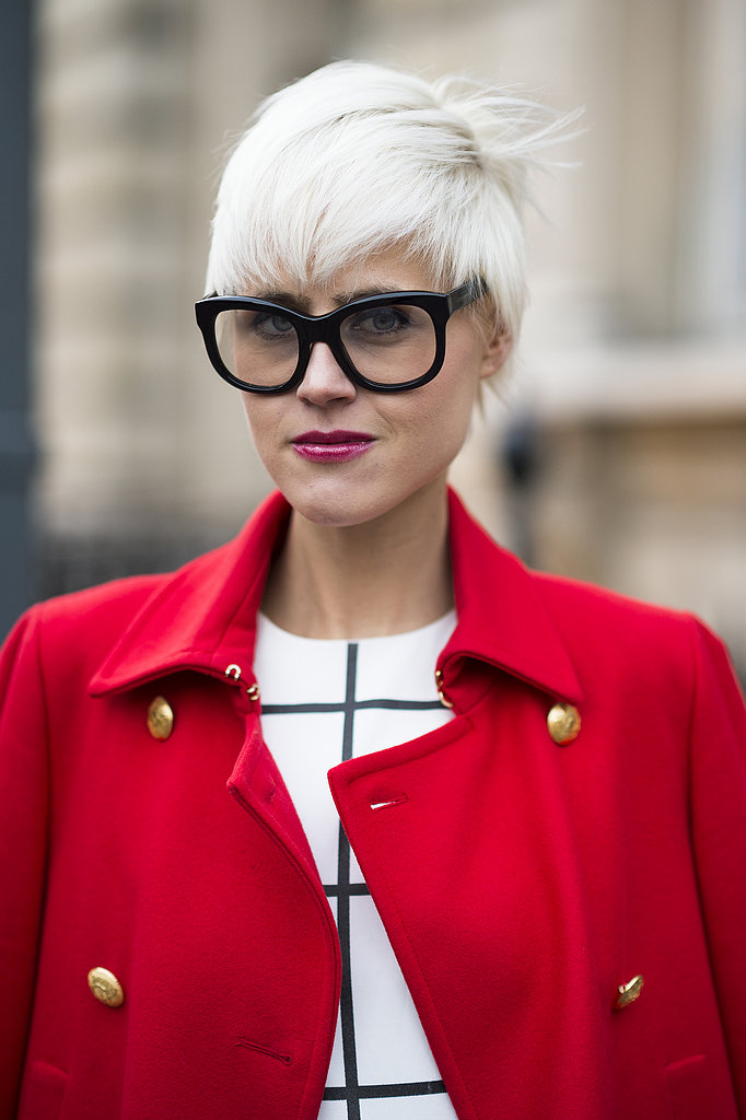Linda Tol went for full-on mod with a frosty white pixie cut and Buddy Holly glasses. Source: Le 21ème   Adam Katz Sinding