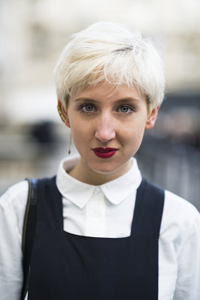 Snow-white-hued pixies must be the popular cut in London — Alice Tate updated hers with a classic red lip. Source: Le 21ème   Adam Katz Sinding