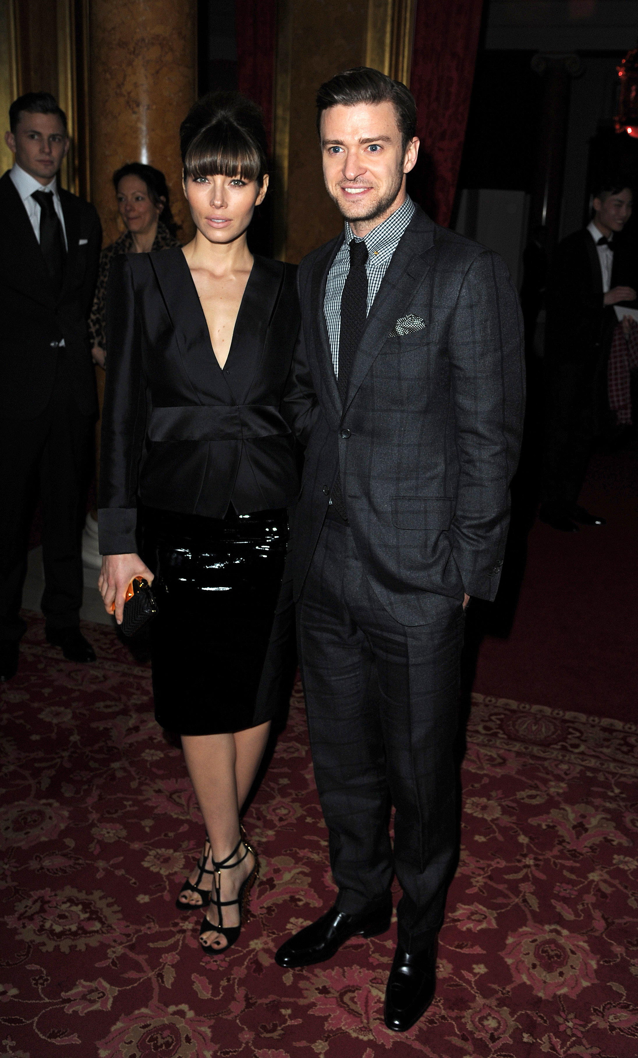 Justin Timberlake and Jessica Biel posed together at the Tom Ford runway show in London.