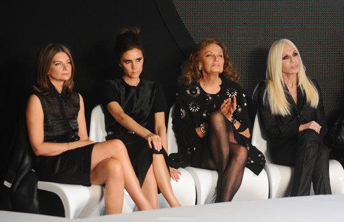 Victoria Beckham judged the Woolmark Prize with Diane von Fustenberg, Donatella Versace, and Natalia Massenet during London Fashion Week in February.