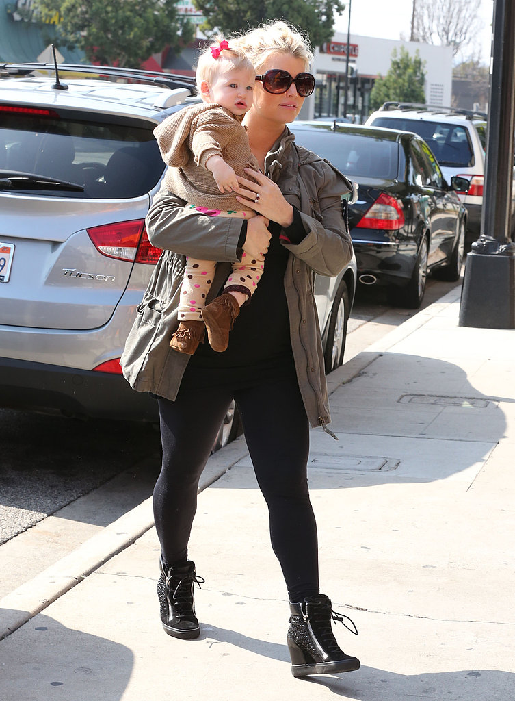 Jessica Simpson and baby girl Maxwell stepped out together in LA on Monday.
