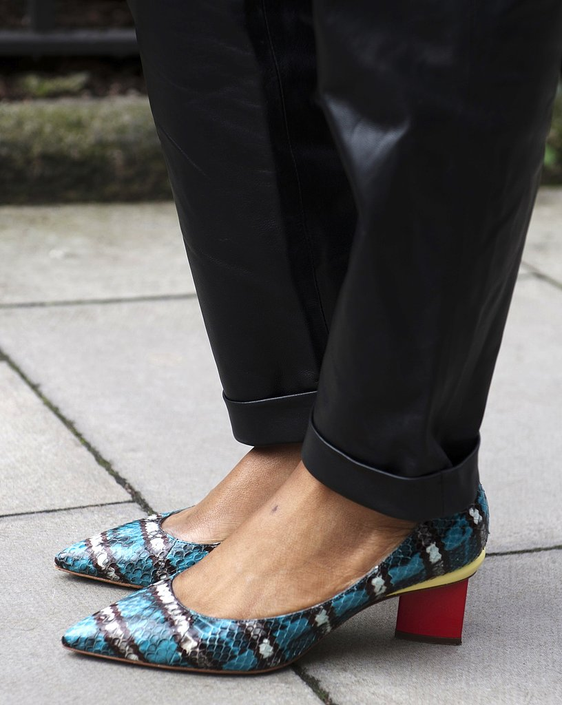 Kitten heels never looked so good, thanks to these snakeskin-print pointy-toe pumps.