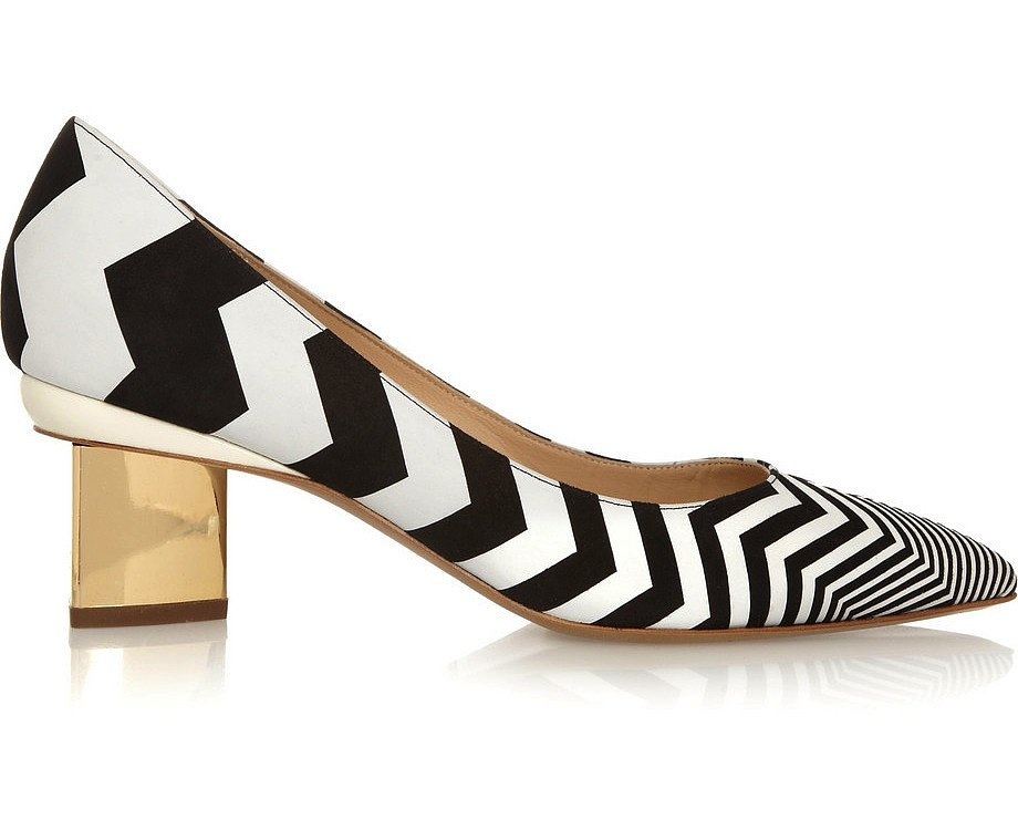For the eye-catching statement (sans the pain of a killer heel), try on these Nicholas Kirkwood zigzag-print suede pumps ($695). We're thinking these would go perfectly with black-and-white fare or as a playful pop to a navy-blue ensemble.