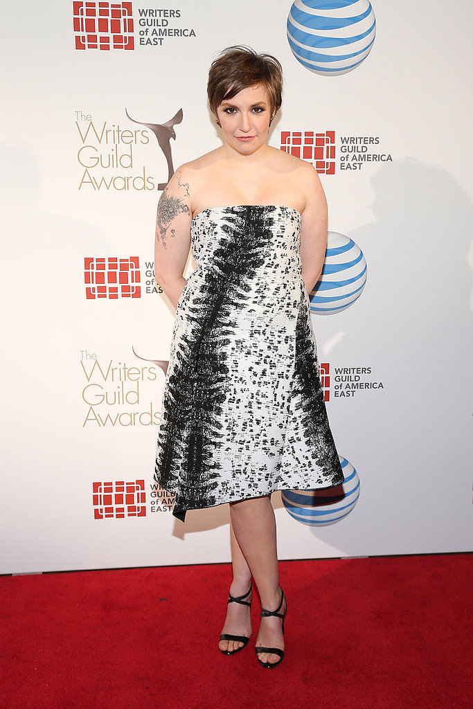 Lena Dunham sported a Reed Krakoff black-and-white printed dress paired with black sandals.
