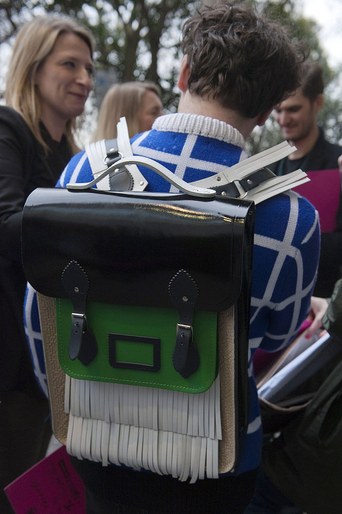 We love this fringed leather colorblocked backpack.