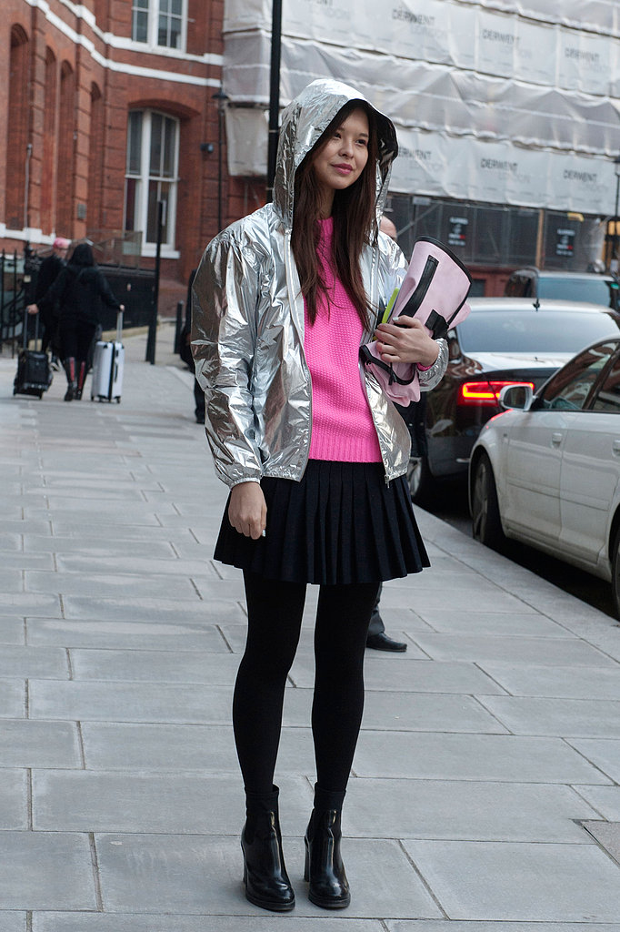 This attendee gave her look a little sporty edge with a metallic hoodie.