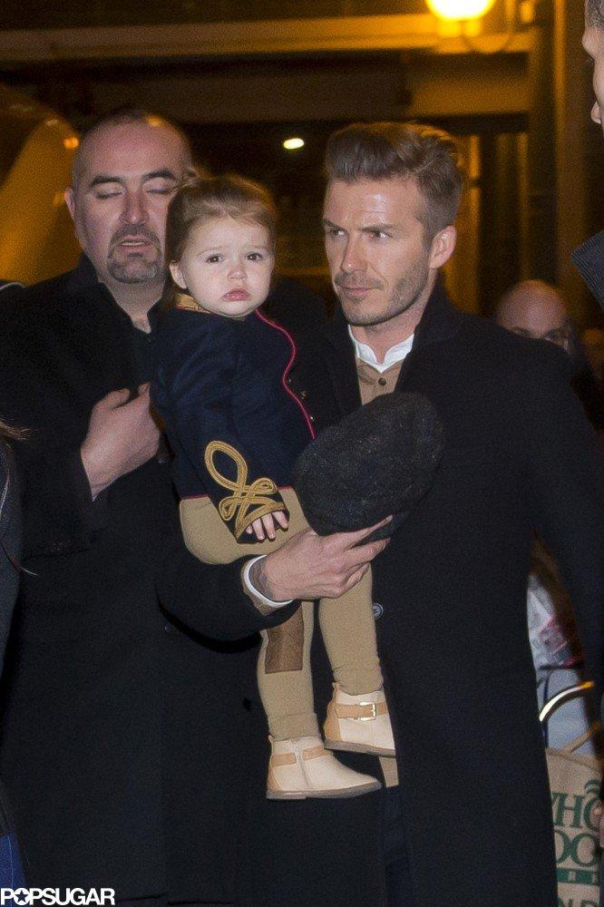 David Beckham and Harper left dinner in London in February.
