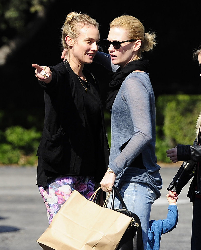 January Jones and Diane Kruger hugged in LA.