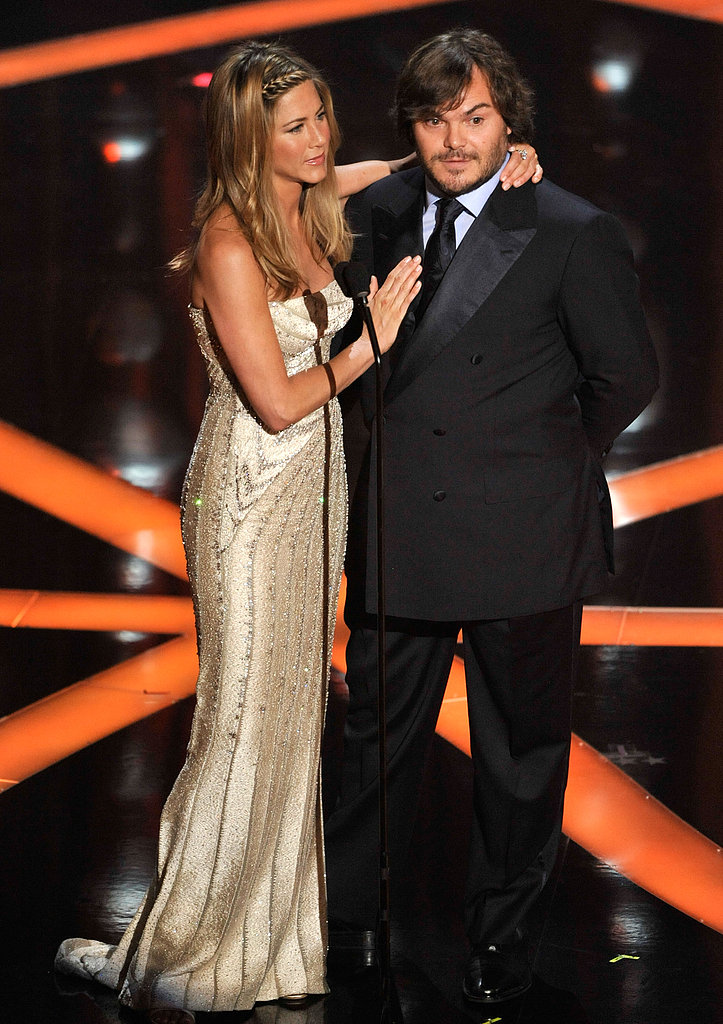 Jennifer Aniston joined Jack Black on stage in 2009 to present the award for best animated feature film, while nominees Brad Pitt and Angelina Jolie watched from the audience's front row.