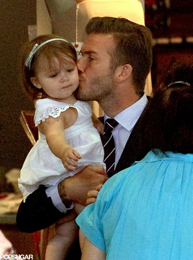 David Beckham planted a kiss on Harper during lunch in Notting Hill, London, in July 2012.