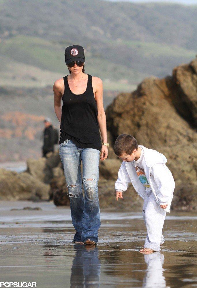 Victoria Beckham hit the beach in Malibu, CA, with Cruz in January 2010.
