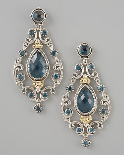 Konstantino London Blue Topaz Chandelier Post Back Earrings