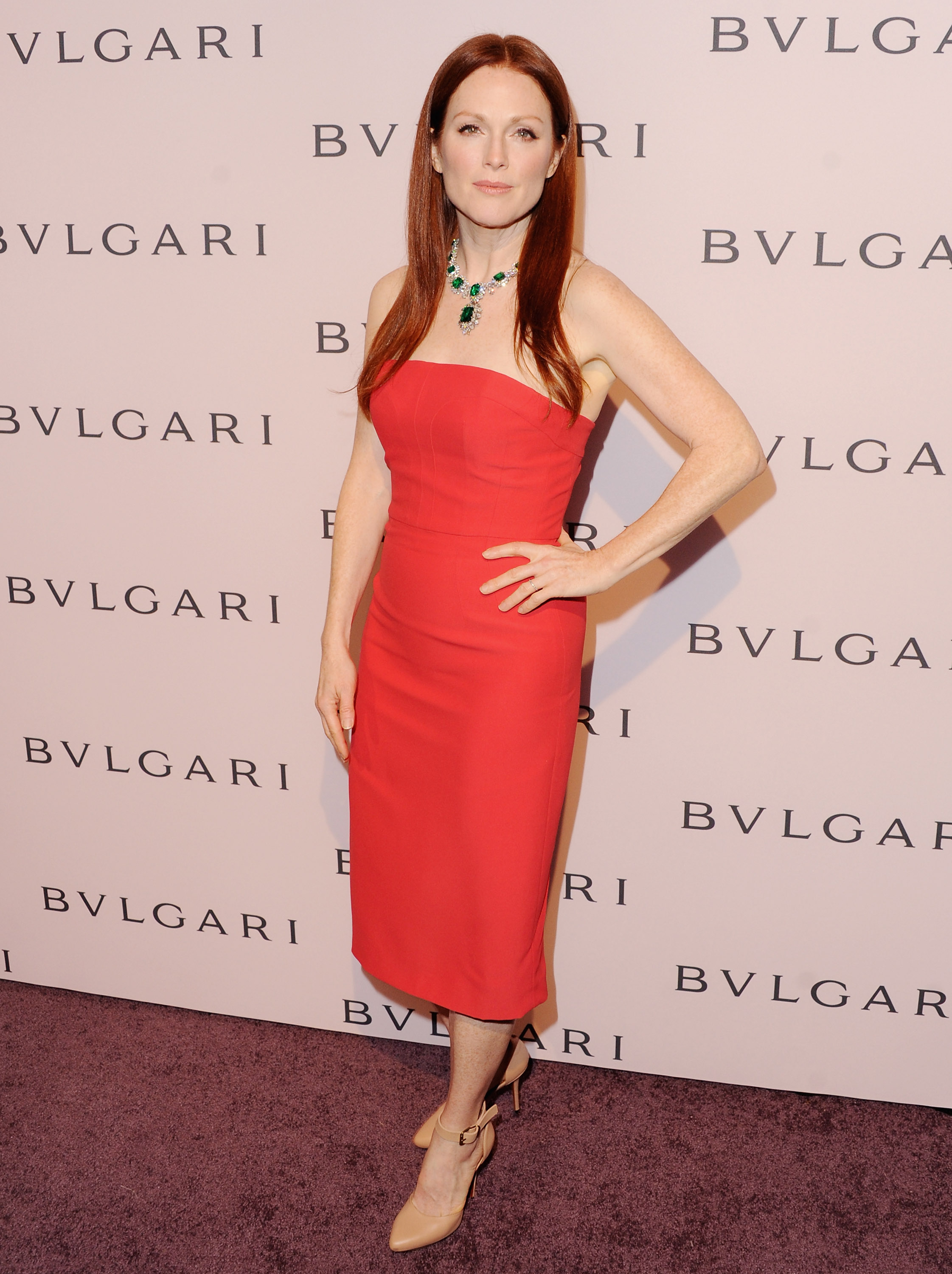 Julianne Moore wore an emerald necklace.