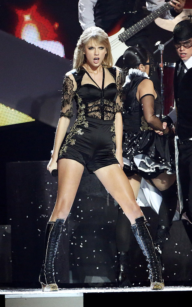 Taylor Swift donned a revealing ensemble to perform during the 2013 Brit Awards in London.