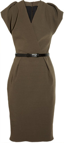 La Petite S***** Belted stretch wool-blend crepe dress