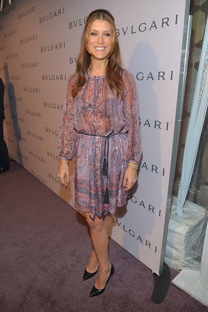 Kate Walsh kept things casual in a semi-sheer printed dress.