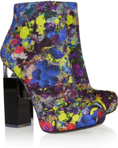 Nicholas Kirkwood for Erdem Geometric-heel printed silk-covered leather ankle boots