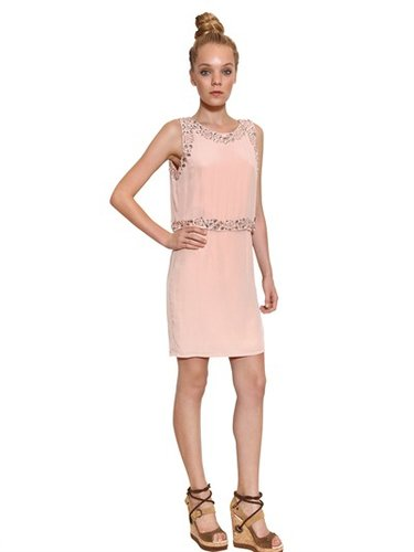 Galliano - Jeweled Silk Crepe De Chine Dress