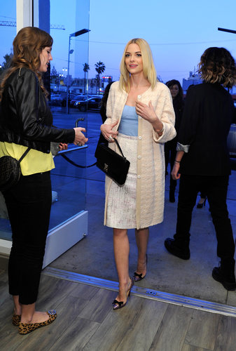 Jaime King's ladylike ensemble got a hint of pastel at a Rembrandt party in Hollywood.