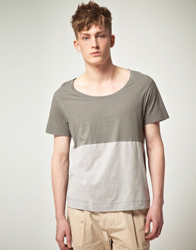 ASOS BLACK T-Shirt with Contrast Panel