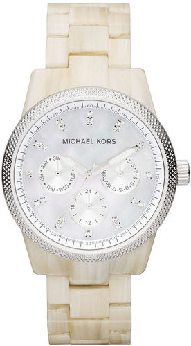 Michael Kors Watch, Women's Chronograph Ritz White Horn Acetate Bracelet 37mm MK5625 - First @ Macy's!