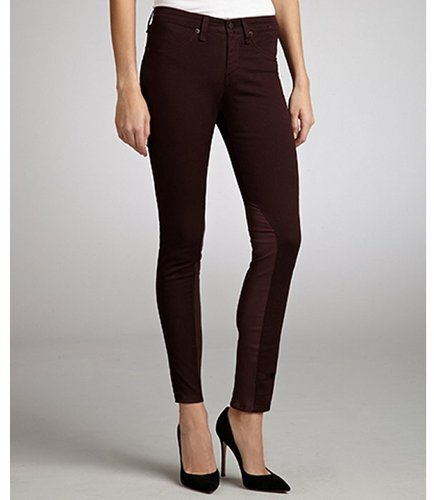 Rag & Bone wine stretch twill leather detailed jodhpurs
